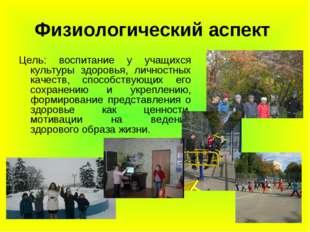 Физиологический аспект Цель: воспитание у учащихся культуры здоровья, личност