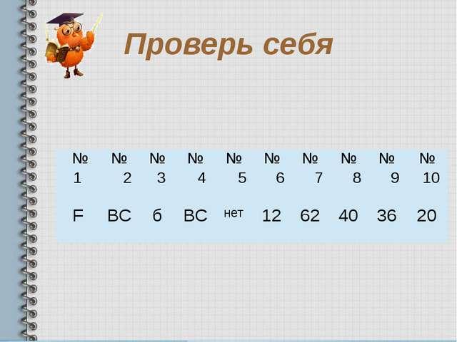 Проверь себя  № 1 № 2 № 3 № 4 № 5 № 6 № 7 № 8 № 9 № 10 F ВС б ВС нет 12 62 4...
