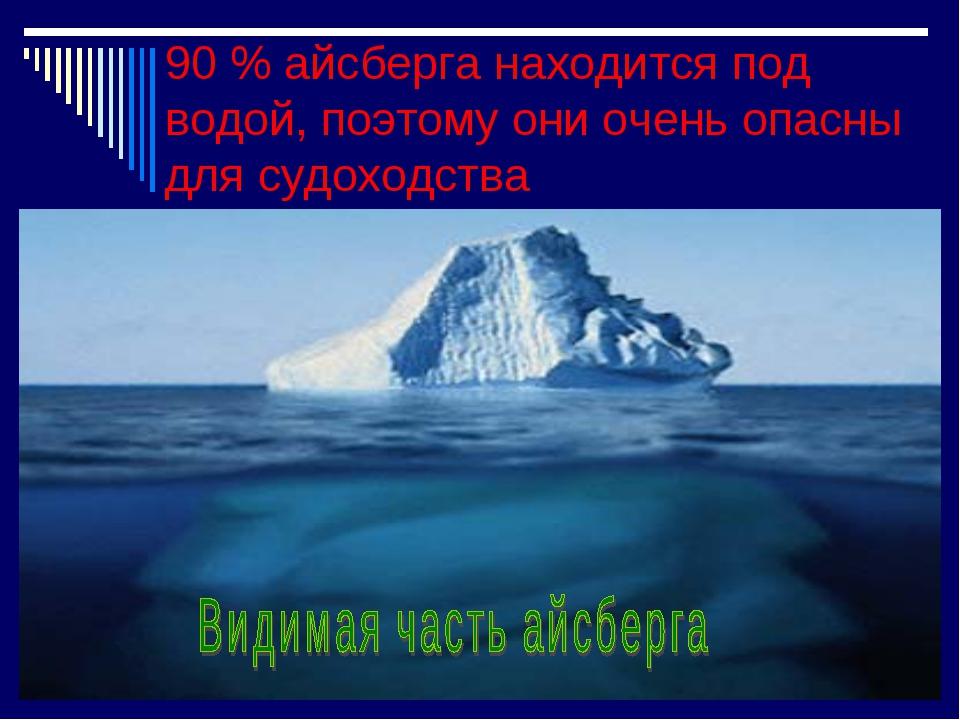 90 % айсберга находится под водой, поэтому они очень опасны для судоходства