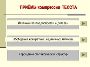 ПРИЁМЫ компрессии ТЕКСТА Исключение подробностей и деталей Обобщение конкретн
