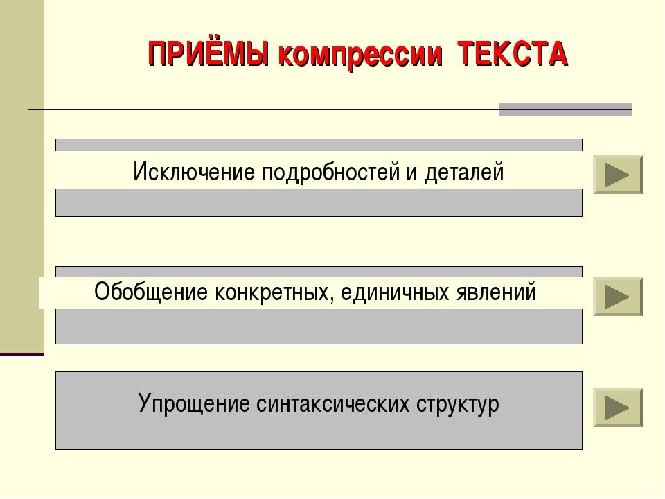 ПРИЁМЫ компрессии ТЕКСТА Исключение подробностей и деталей Обобщение конкретн...