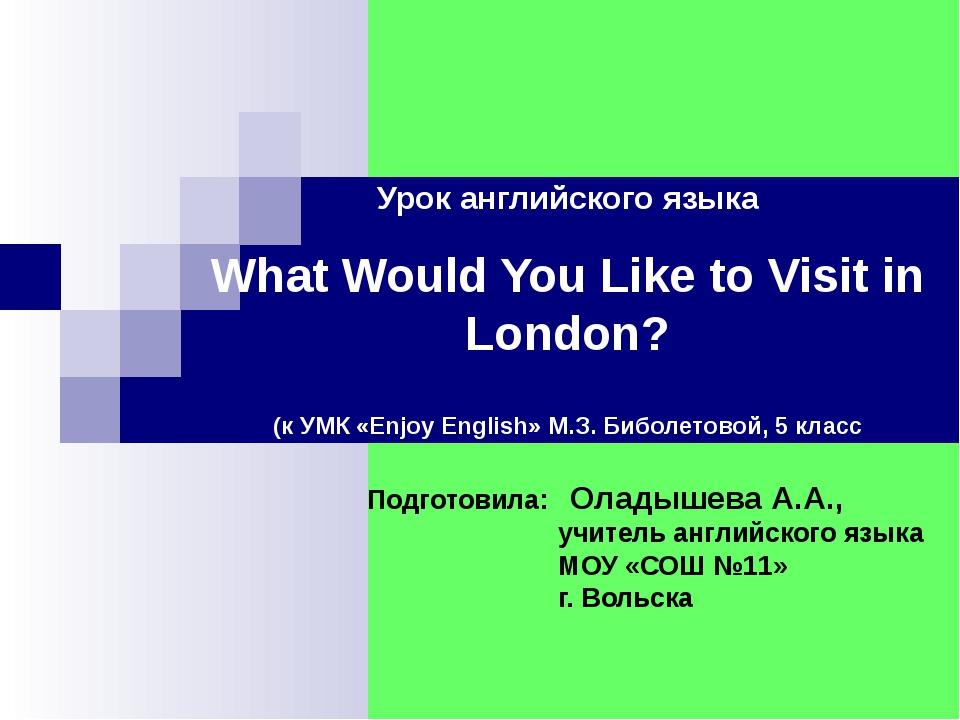 Урок английского языка What Would You Like to Visit in London? (к УМК «Enjoy...