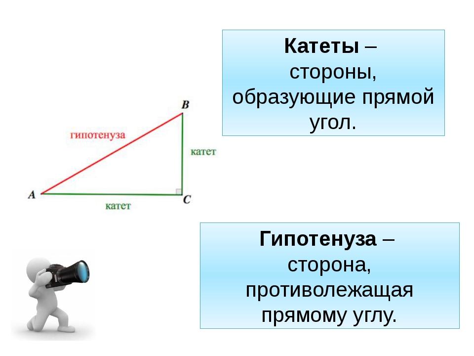 Катеты – стороны, образующие прямой угол. Гипотенуза – сторона, противолежаща...