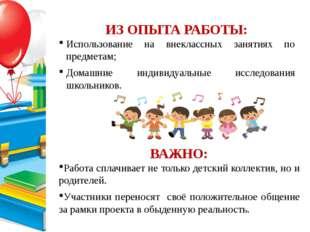 ИЗ ОПЫТА РАБОТЫ: Использование на внеклассных занятиях по предметам; Домашни