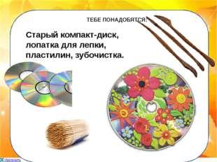 ТЕБЕ ПОНАДОБЯТСЯ: Старый компакт-диск, лопатка для лепки, пластилин, зубочис