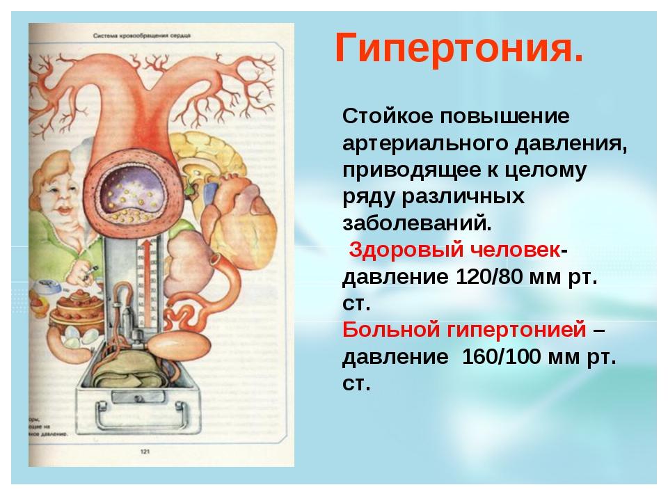 Гипертония. Стойкое повышение артериального давления, приводящее к целому ряд...
