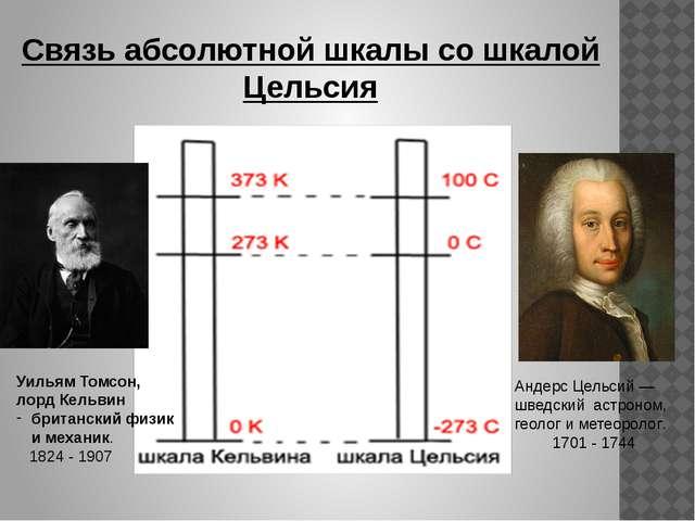 Связь абсолютной шкалы со шкалой Цельсия Андерс Цельсий — шведский астроном,...