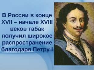 В России в конце ХVII – начале ХVIII веков табак получил широкое распростран