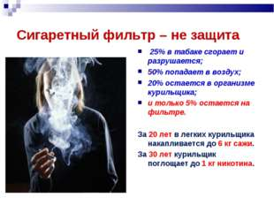 Сигаретный фильтр – не защита 25% в табаке сгорает и разрушается; 50% попадае