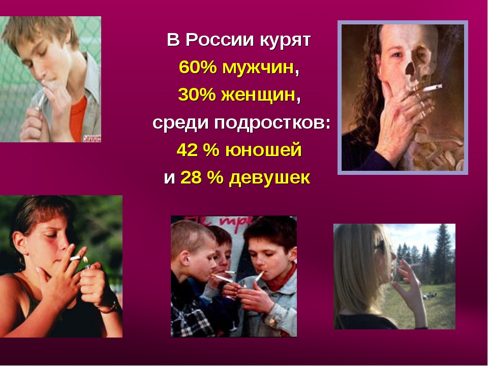 В России курят 60% мужчин, 30% женщин, среди подростков: 42 % юношей и 28 % д...