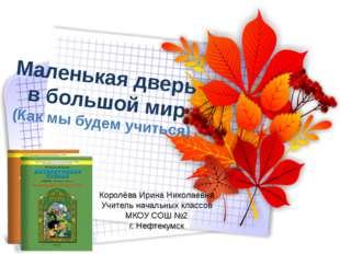 Маленькая дверь в большой мир (Как мы будем учиться) Королёва Ирина Николаевн