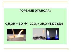 ГОРЕНИЕ ЭТАНОЛА: С2Н5ОН + ЗО2  2СО2 + ЗН2O +1370 кДж