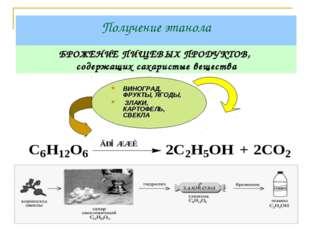 Получение этанола БРОЖЕНИЕ ПИЩЕВЫХ ПРОДУКТОВ, cодержащих cахаристые вещества