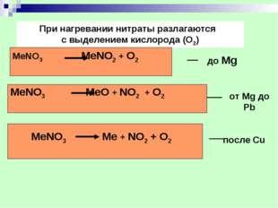 При нагревании нитраты разлагаются с выделением кислорода (O2) MeNO3 MeNO2 +