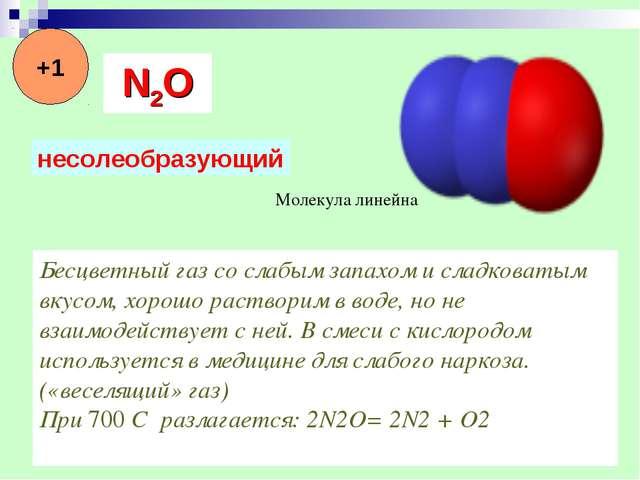 Молекула линейна Бесцветный газ со слабым запахом и сладковатым вкусом, хорош...
