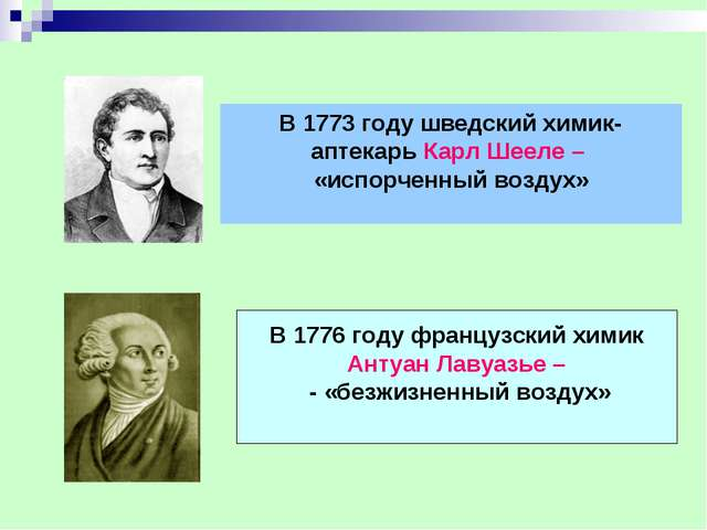 В 1773 году шведский химик- аптекарь Карл Шееле – «испорченный воздух» В 1776...