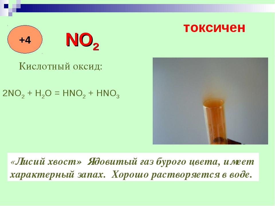 Кислотный оксид: «Лисий хвост» Ядовитый газ бурого цвета, имеет характерный з...