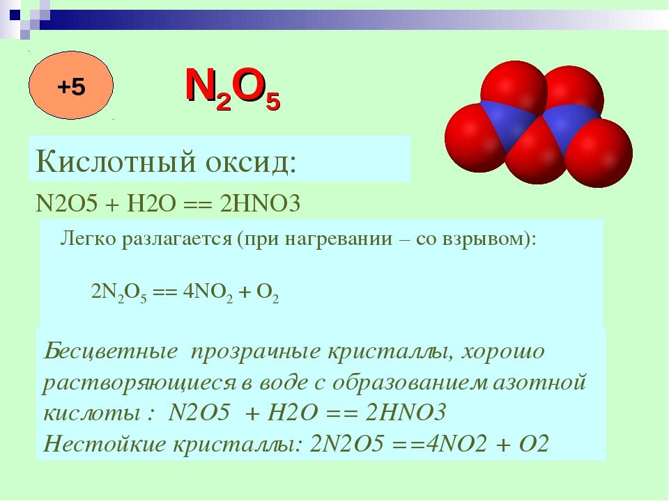 Кислотный оксид: N2O5 + H2O == 2HNO3  Легко разлагается (при нагревании – с...