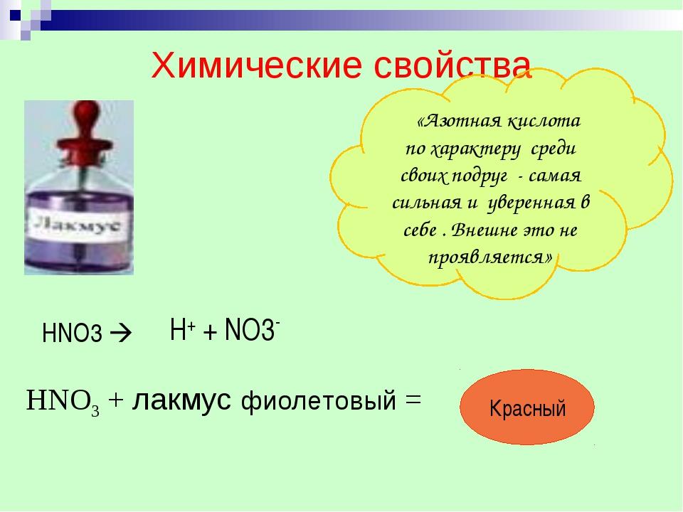 Химические свойства «Азотная кислота по характеру среди своих подруг - самая...