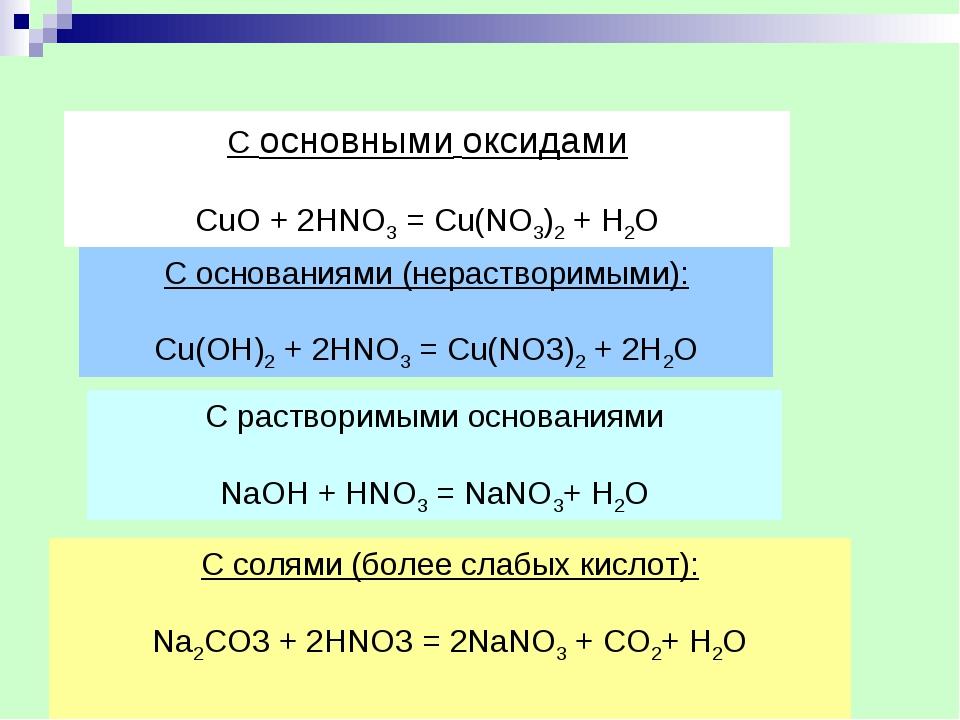 С основаниями (нерастворимыми): Cu(OH)2+ 2HNO3= Cu(NO3)2+ 2H2O С растворим...
