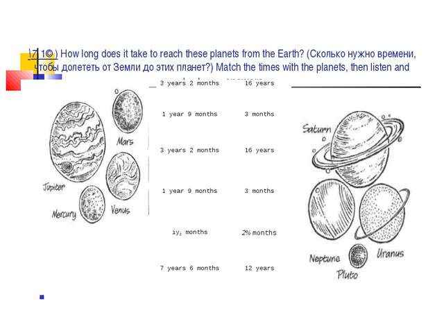 \7\ 1© ) How long does it take to reach these planets from the Earth? (Скольк...