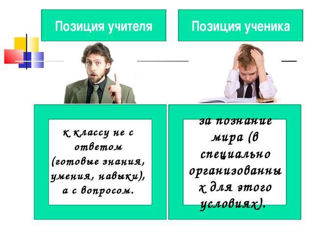 Позиция учителя Позиция ученика к классу не с ответом (готовые знания, умения...