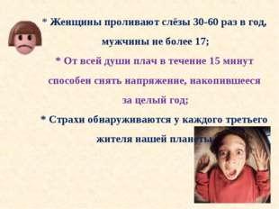 * Женщины проливают слёзы 30-60 раз в год, мужчины не более 17; * От всей душ