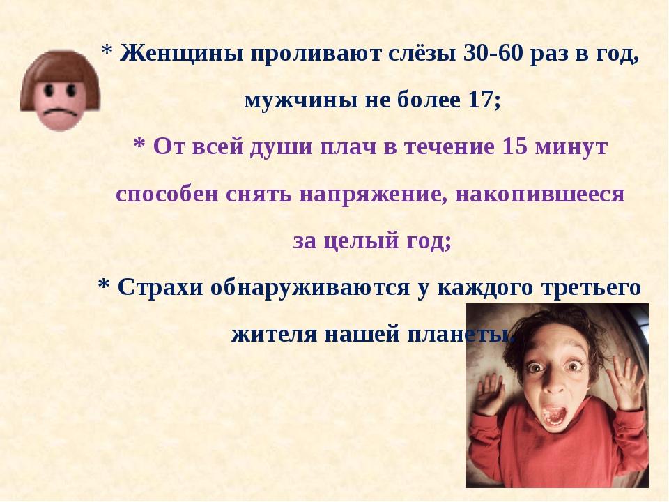 * Женщины проливают слёзы 30-60 раз в год, мужчины не более 17; * От всей душ...