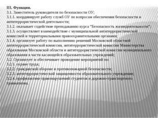 III.Функции. 3.1. Заместитель руководителя по безопасности ОУ; 3.1.1. коорди