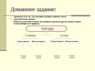 Домашнее задание: Прочитать § 30, стр. 142, заполнить таблицу в рабочих листа