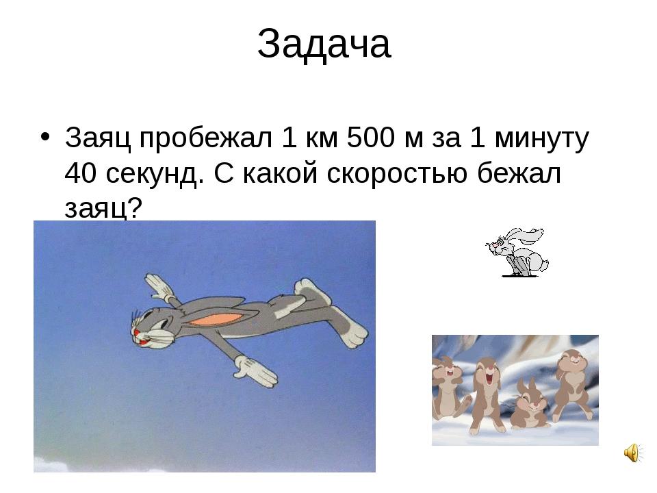 Задача Заяц пробежал 1 км 500 м за 1 минуту 40 секунд. С какой скоростью бежа...