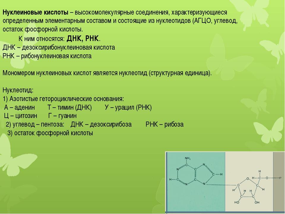 Нуклеиновые кислоты – высокомолекулярные соединения, характеризующиеся опреде...