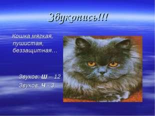Звукопись!!! Кошка мягкая, пушистая, беззащитная… Звуков: Ш – 12 Звуков: Ч - 3