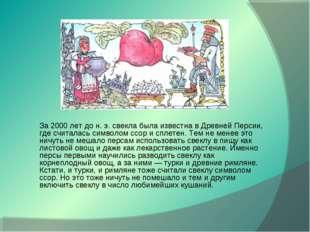 За 2000 лет до н. э. свекла была известна в Древней Персии, где считалась сим