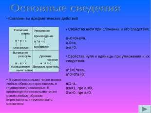 Компоненты арифметических действий Сложение сумма а + в = с слагаемые Умноже