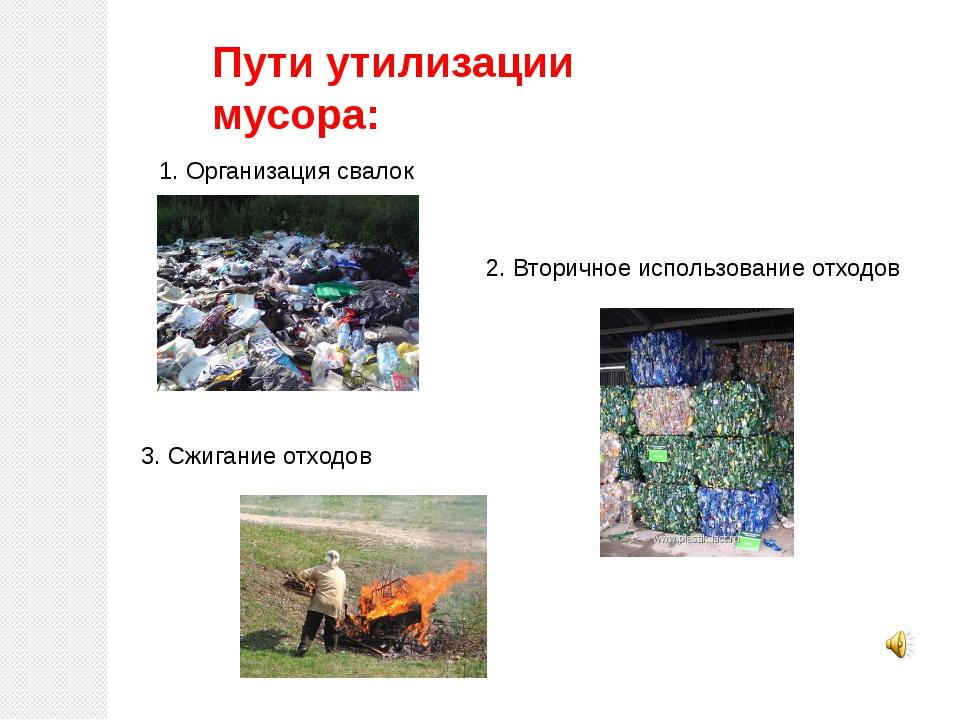Пути утилизации мусора: 1. Организация свалок 2. Вторичное использование отхо...