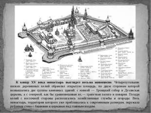 К концу XV века монастырь выглядел весьма живописно. Четырехугольник низких д