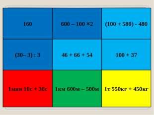 160 600 – 100 ×2 (30– 3) : 3 46 + 66 + 54 (100 + 580) - 480 100 + 37 1мин 10с