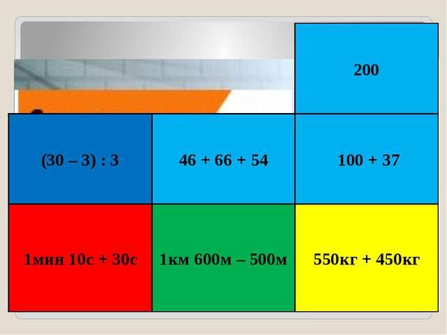 1мин 10с + 30с 1км 600м – 500м 550кг + 450кг 100 + 37 200 (30 – 3) : 3 46 + 6...