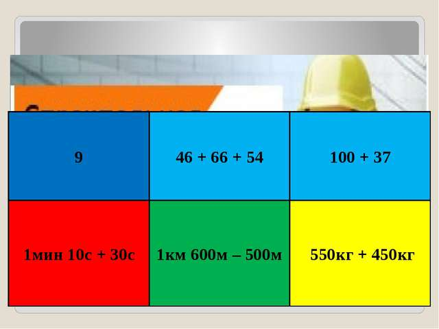 9 1мин 10с + 30с 1км 600м – 500м 100 + 37 550кг + 450кг 46 + 66 + 54
