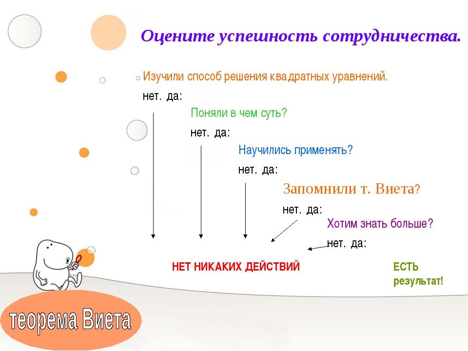 Оцените успешность сотрудничества. Изучили способ решения квадратных уравнени...