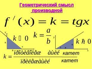 Геометрический смысл производной катет катет а в x х y x y x a в