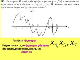 Ищем точки , где функция убывает (производная отрицательна) Ответ :3. График