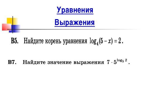 Выражения Уравнения