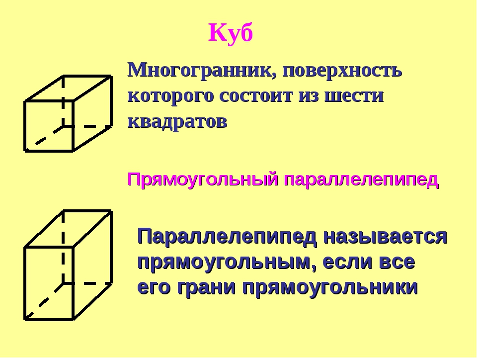 Многогранник, поверхность которого состоит из шести квадратов Прямоугольный п...