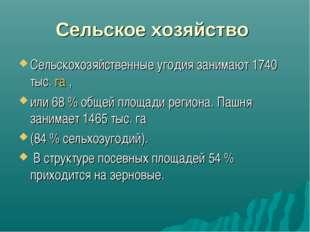 Сельское хозяйство Сельскохозяйственные угодия занимают 1740 тыс.га, или 68
