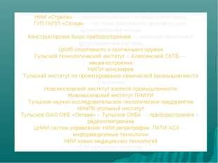 НИИ «Стрела»— радиолокационные системы и комплексы ГУП ГНПП «Сплав»— систем
