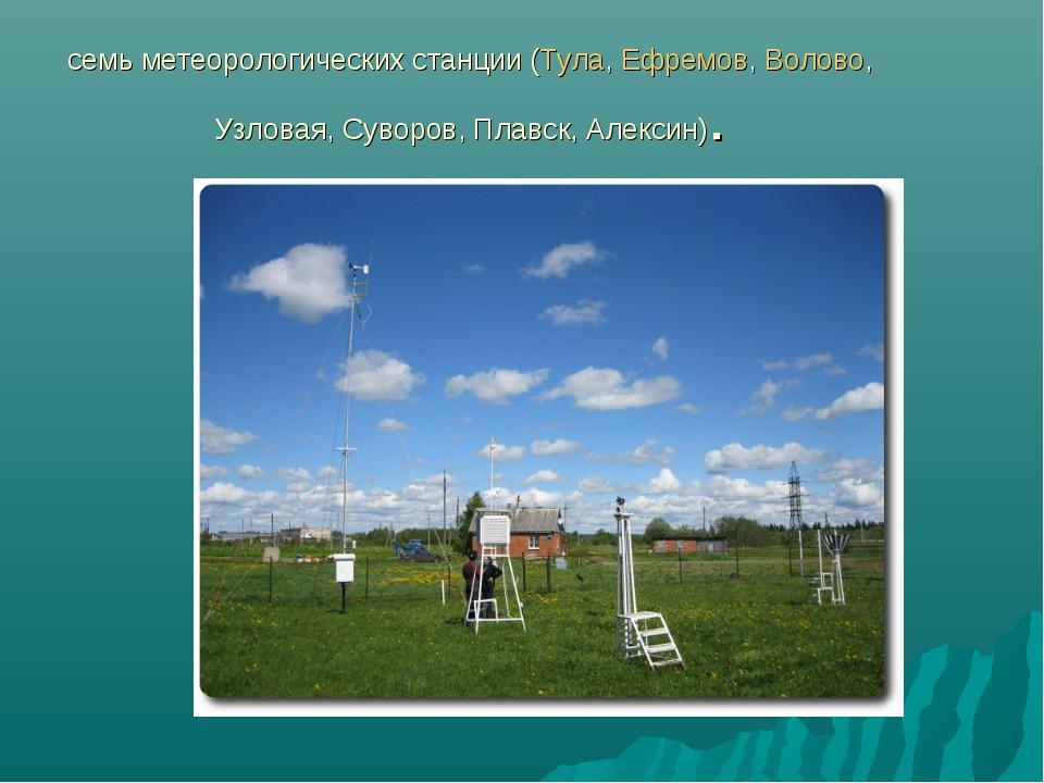 семь метеорологических станции (Тула,Ефремов,Волово, Узловая, Суворов, Плав...