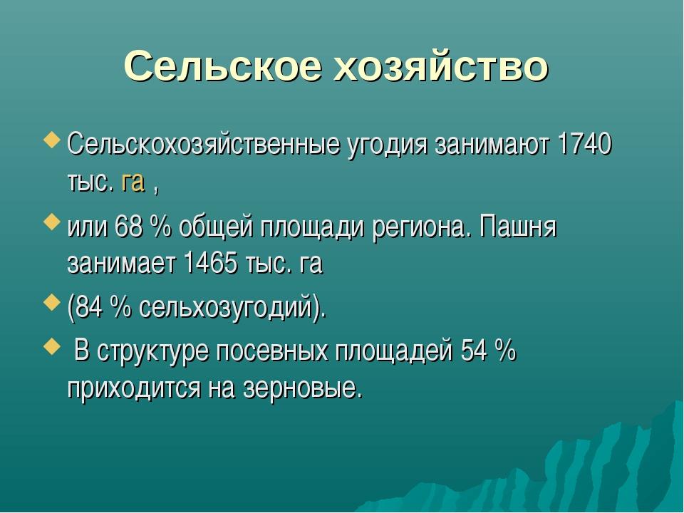 Сельское хозяйство Сельскохозяйственные угодия занимают 1740 тыс.га, или 68...