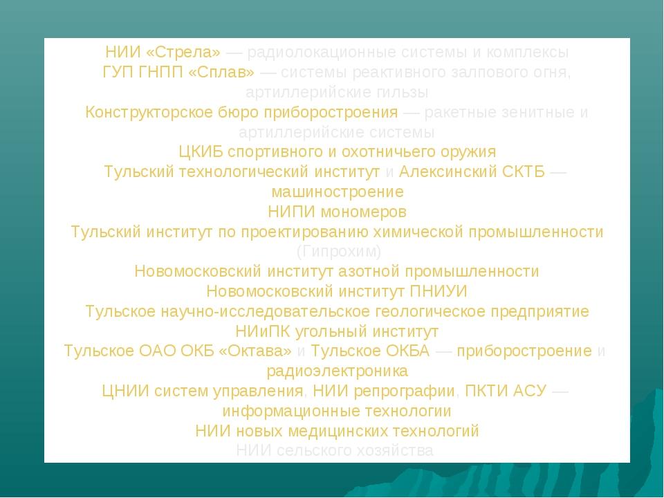 НИИ «Стрела»— радиолокационные системы и комплексы ГУП ГНПП «Сплав»— систем...